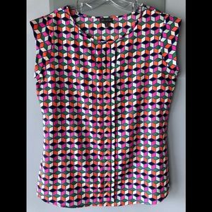 Multi colored cap sleeve blouse